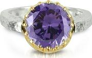 Try ,  Amethyst Cubic Zirconia Sterling Silver & Rose Gold Flip Ring