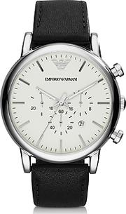 Emporio Armani ,  Silver Tone Stainless Steel & Black Leather Strap Men's Watch