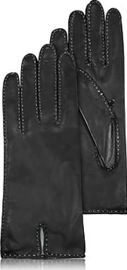 Forzieri ,  Women's Stitched Silk Lined Black Italian Leather Gloves