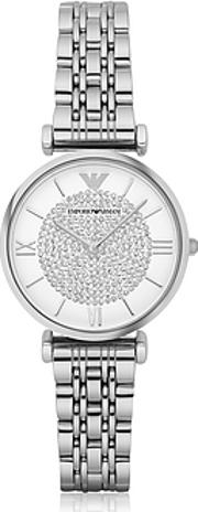 Emporio Armani ,  T-bar Silvertone Stainless Steel Women's Watch Wcrystals Dial