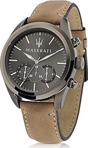 Maserati ,  Pole Position Chronograph Gunmetal Dial And Brown Leather Strap Men's Watch