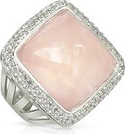 Sho London ,  18k Gold V-seal Rose Quartz Victoria Ring