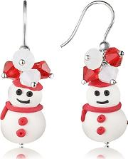 Dolci Gioie ,  Snowman Pendant Earrings With Crystals