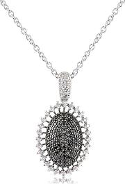 Azhar ,  Black Cubic Zirconia And Sterling Silver Oval Pendant Necklace