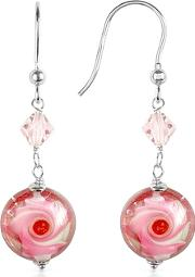 House Of Murano ,  Vortice - Pink Swirling Murano Glass Bead Earrings
