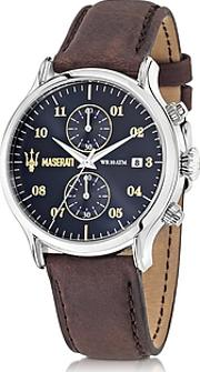 Maserati ,  Epoca Chronograph Navy Blue Dial And Brown Leather Strap Men's Watch