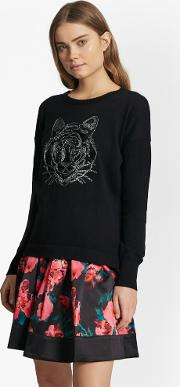 French Connection , Animal Knit Tiger Sequin Jumper Black