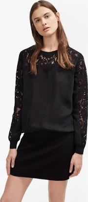 French Connection , Aries Cupro Lace Sleeved Sweatshirt Black