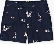 French Connection , Blossom Twill Printed Shorts Marine Blue
