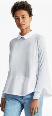 French Connection , Fresh Jersey Shirt Layered Top Salt Waterwhite