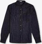 French Connection , Pinstripe Brosnan Flannel Shirt Midnight Navy