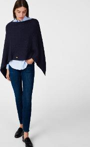 Gant , Cable Poncho Evening Blue