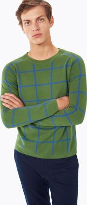 Gant , Checked Cotton Crewneck Jumper Chlorophyll Green