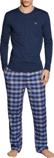 Gant , Flannel Pajama Set With Henley T Shirt Navy
