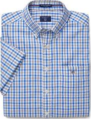 Gant , Short Sleeve Oxford Check Shirt Palace Blue
