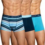 Gant , Three Pack Stretch Cotton Multi Stripe Trunks Navy