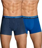 Gant , Two Pack Cotton Stretch Star Trunks Navy