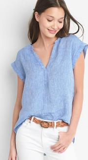Gap , Linen Cap Sleeve Popover Shirt Light Blue
