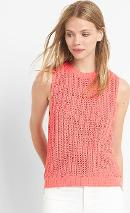 Open Stitch Sweater Tank Spring Coral