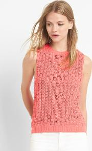 Gap , Open Stitch Sweater Tank Spring Coral