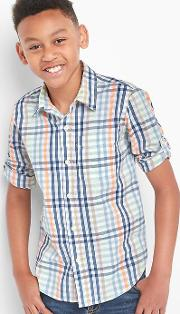 Gap , Plaid Poplin Convertible Shirt Fresh Water 917