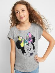 Gap , Kids 124 Disney Mickey Mouse And Minnie Mouse Tropic Cap Tee Grey Heather