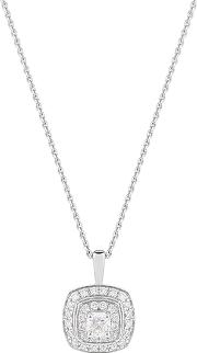 Jenny Packham , 18ct White Gold 0.35 Carat Total Weight Cushion Cut Double Halo Diamond Necklace