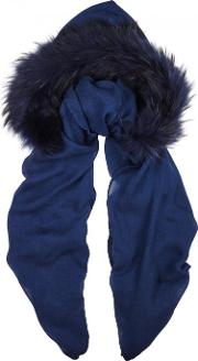 Charlotte Simone , Navy Fur Trimmed Hooded Scarf