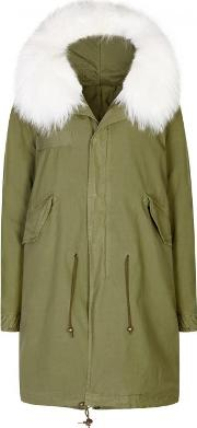 Army Green Fur Trimmed Cotton Parka Size M