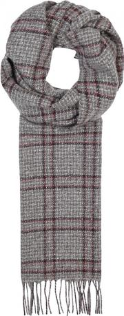 Johnstons Of Elgin , Grey Windowpane Cashmere Scarf
