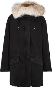 Yves Salomon , Black Fur Lined Denim Parka Size 8