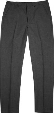 Ami , Grey Tapered Wool Trousers Size 36