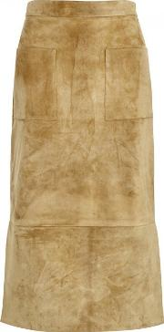 Odessa Sand Suede Pencil Skirt Size 8