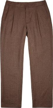 Jlindeberg , J.lindeberg Cropper Brown Stretch Wool Trousers Size W34