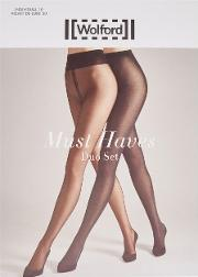 Wolford , Must Haves Black Tights Set Of Two Size M