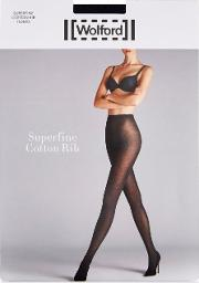 Wolford , Superfine Black Ribbed Tights Size M