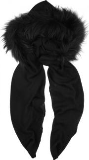 Charlotte Simone , Black Fur Trimmed Hooded Scarf