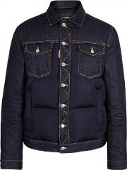 Dsquared2 , Navy Denim And Quilted Shell Jacket Size 38