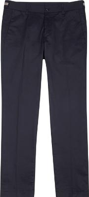 Moncler , Navy Stretch Cotton Chinos Size W32