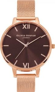 Brown Dial Rose Gold Plated Watch