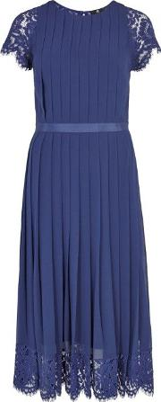 Dark Blue Pleated Georgette Dress Size 14