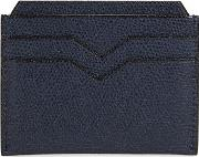Valextra , 4cc Navy Pebbled Leather Card Holder