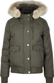 Pajar , Margaret Army Green Fur Trimmed Parka Size Xs