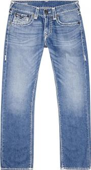 True Religion , Ricky Blue Stitched Straight Leg Jeans Size W31