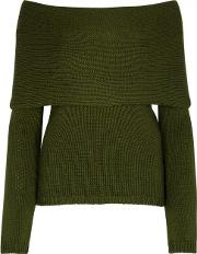 Rosetta Getty , Army Green Off The Shoulder Jumper Size S