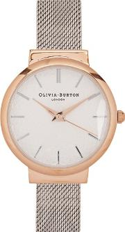 Olivia Burton , The Hackney Rose And Silver Plated Watch