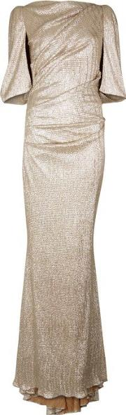 Talbot Runhof , Champagne Cape Effect Gown Size 18