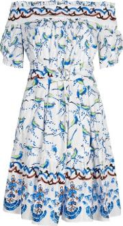Peter Pilotto , Printed Off The Shoulder Cotton Dress Size 8