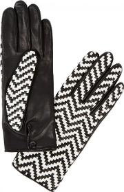 Chloetresse Black Woven Leather Gloves