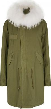 Army Green Fur Lined Cotton Parka Size M